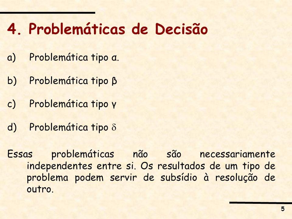 5 4. Problemáticas de Decisão a) Problemática tipo α. b) Problemática tipo β c) Problemática tipo γ d) Problemática tipo Essas problemáticas não são n