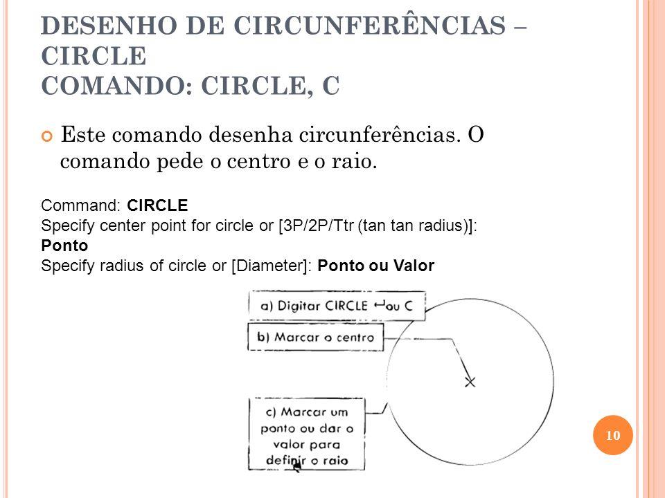 DESENHO DE CIRCUNFERÊNCIAS – CIRCLE COMANDO: CIRCLE, C Este comando desenha circunferências. O comando pede o centro e o raio. 10 Command: CIRCLE Spec