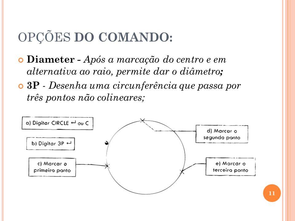 OPÇÕES DO COMANDO: Diameter - Após a marcação do centro e em alternativa ao raio, permite dar o diâmetro ; 3P - Desenha uma circunferência que passa p