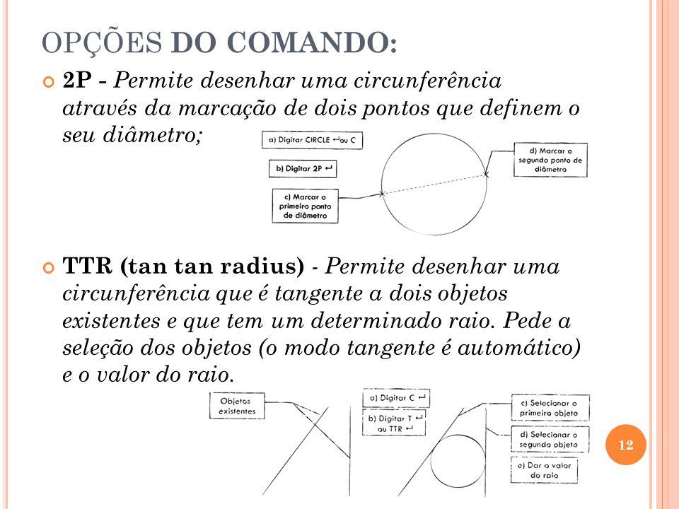 OPÇÕES DO COMANDO: 2P - Permite desenhar uma circunferência através da marcação de dois pontos que definem o seu diâmetro; TTR (tan tan radius) - Perm