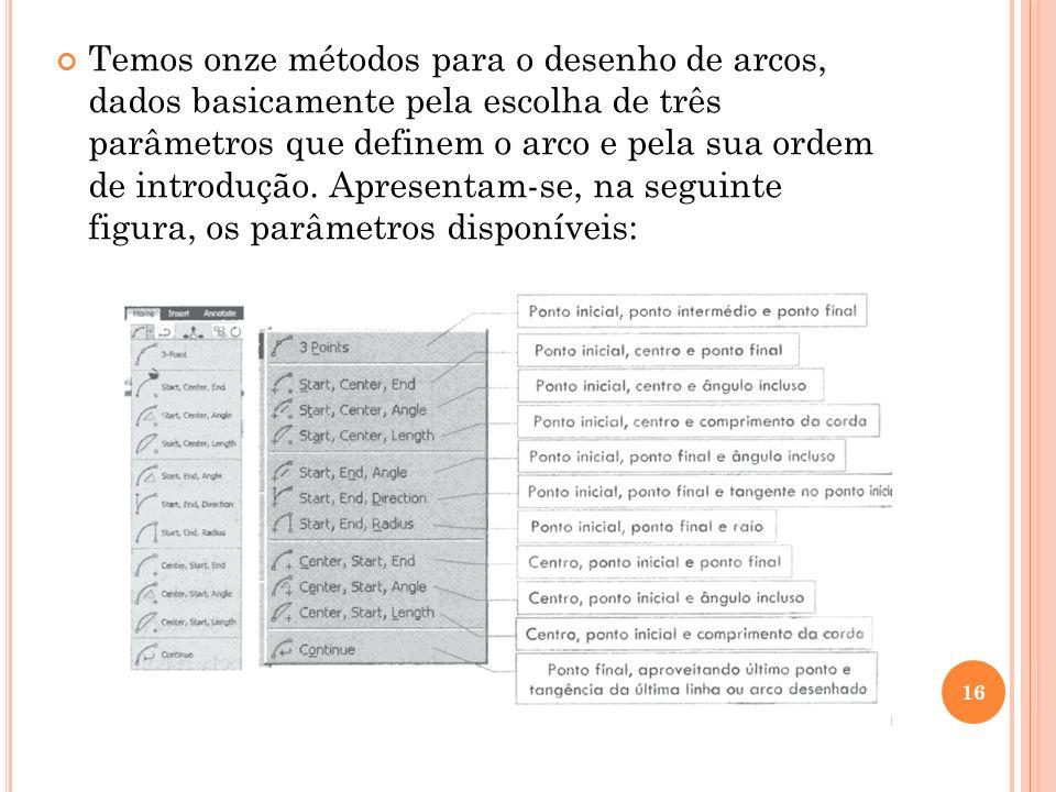 Temos onze métodos para o desenho de arcos, dados basicamente pela escolha de três parâmetros que definem o arco e pela sua ordem de introdução. Apres