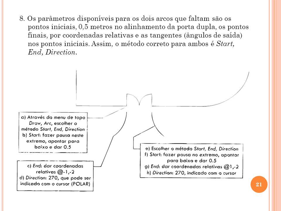 21 8. Os parâmetros disponíveis para os dois arcos que faltam são os pontos iniciais, 0,5 metros no alinhamento da porta dupla, os pontos finais, por