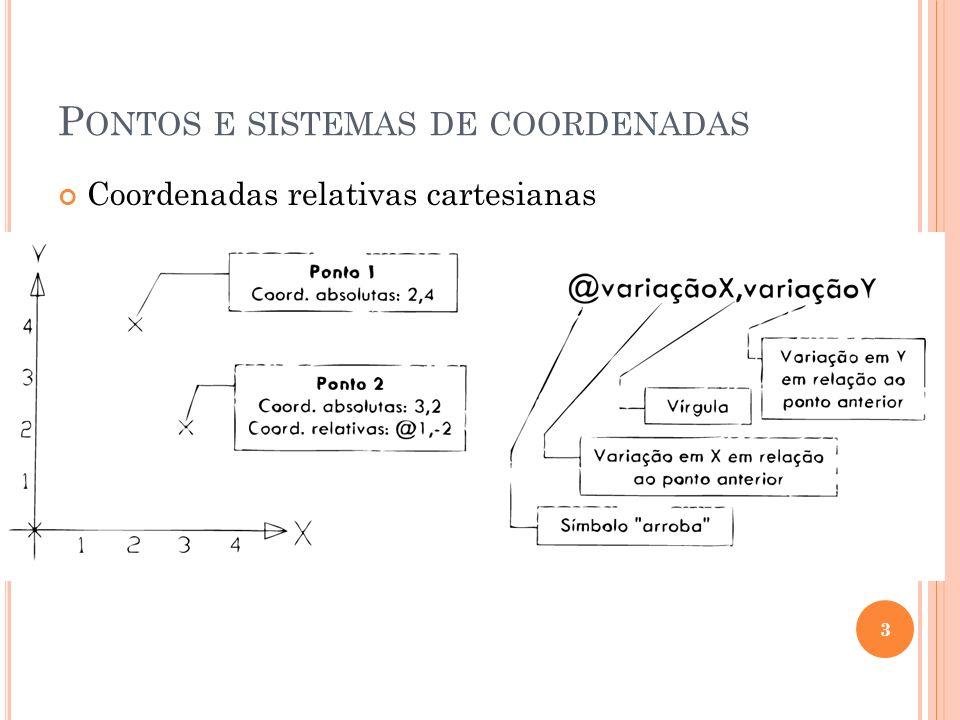 P ONTOS E SISTEMAS DE COORDENADAS Coordenadas relativas cartesianas 3