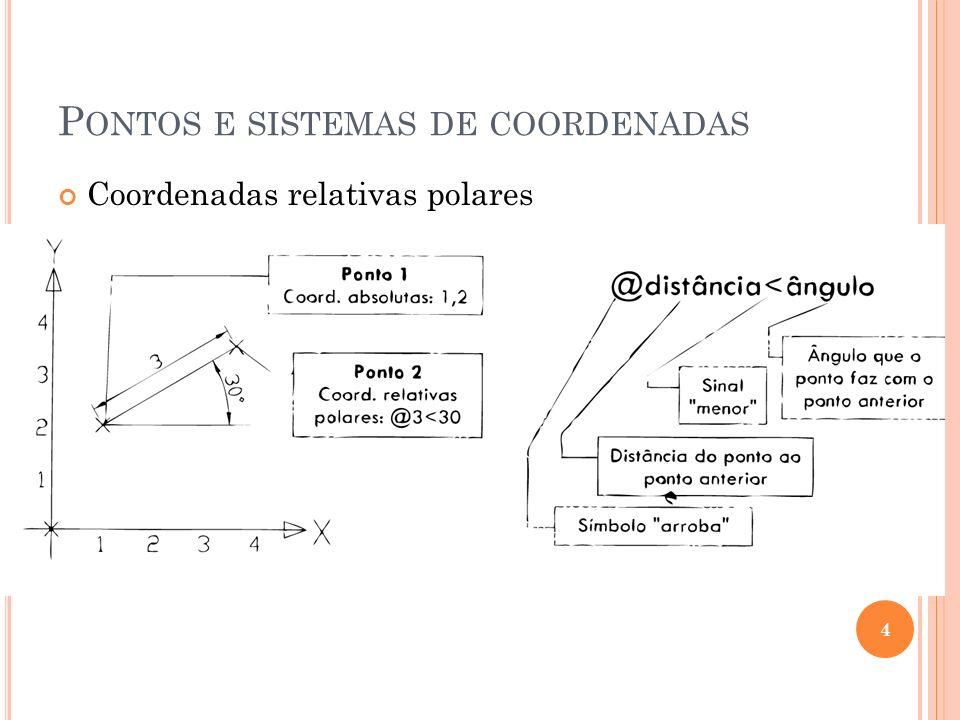 P ONTOS E SISTEMAS DE COORDENADAS Coordenadas relativas polares 4