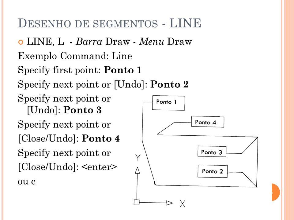D ESENHO DE SEGMENTOS - LINE LINE, L - Barra Draw - Menu Draw Exemplo Command: Line Specify first point: Ponto 1 Specify next point or [Undo]: Ponto 2