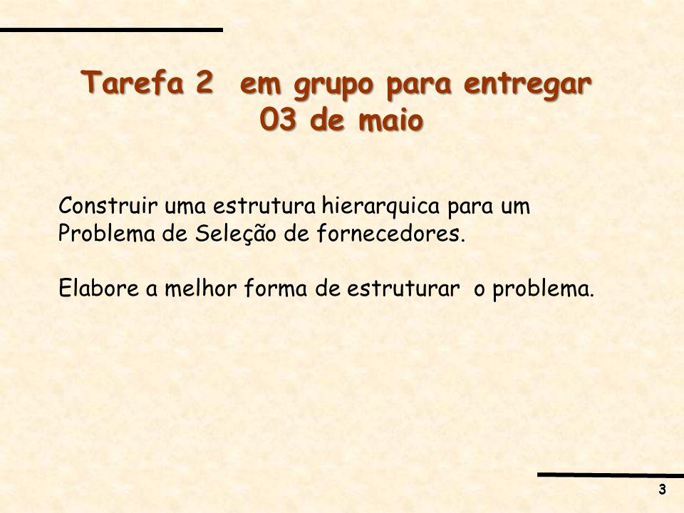 3 Tarefa 2 em grupo para entregar 03 de maio Construir uma estrutura hierarquica para um Problema de Seleção de fornecedores.