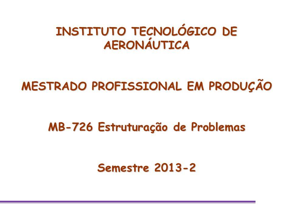 INSTITUTO TECNOLÓGICO DE AERONÁUTICA MESTRADO PROFISSIONAL EM PRODUÇÃO MB-726 Estruturação de Problemas Semestre 2013-2
