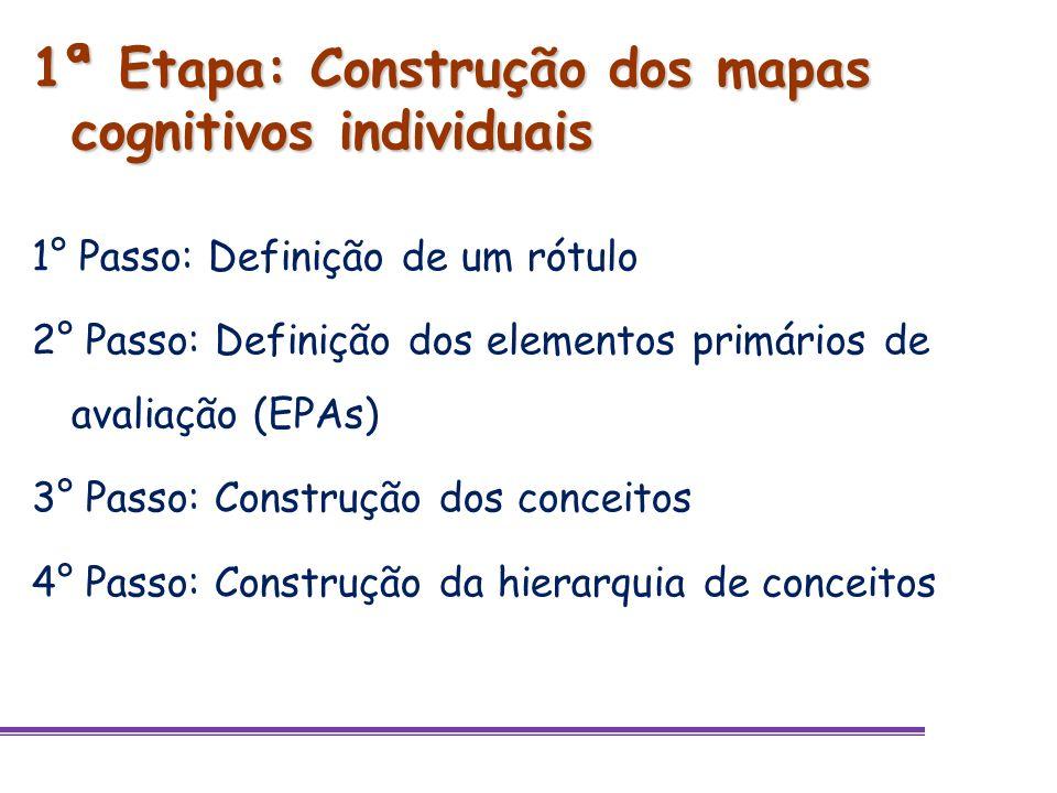 1ª Etapa: Construção dos mapas cognitivos individuais 1° Passo: Definição de um rótulo 2° Passo: Definição dos elementos primários de avaliação (EPAs)