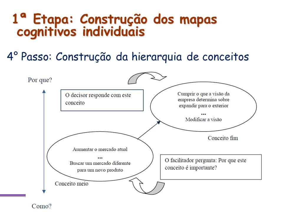 4° Passo: Construção da hierarquia de conceitos 1ª Etapa: Construção dos mapas cognitivos individuais