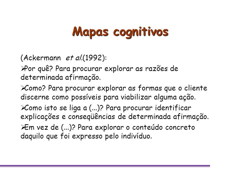 Mapas cognitivos (Ackermann et al.(1992): Por quê? Para procurar explorar as razões de determinada afirmação. Como? Para procurar explorar as formas q