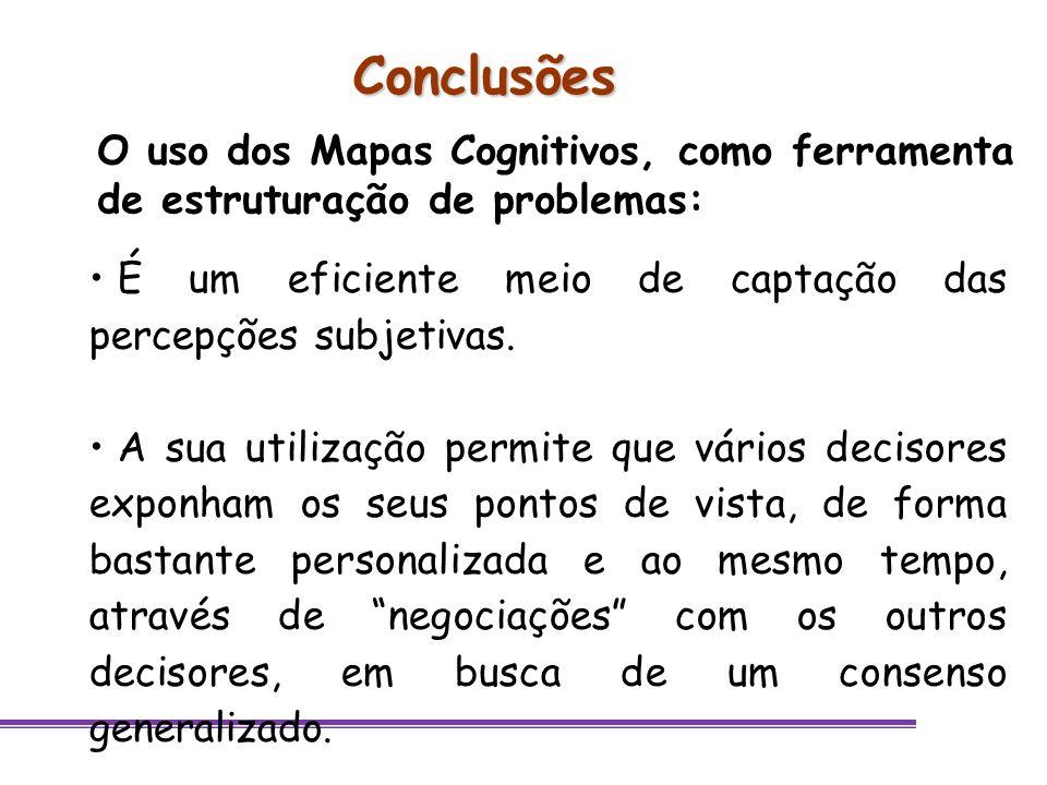 Conclusões É um eficiente meio de captação das percepções subjetivas. A sua utilização permite que vários decisores exponham os seus pontos de vista,