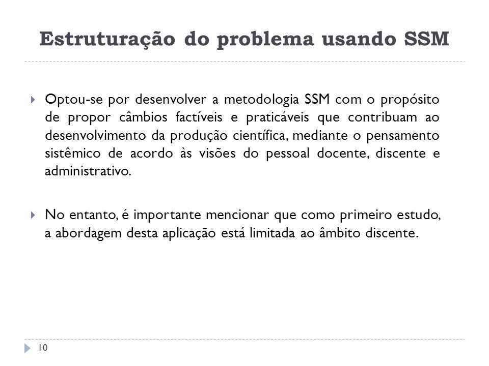 Optou-se por desenvolver a metodologia SSM com o propósito de propor câmbios factíveis e praticáveis que contribuam ao desenvolvimento da produção cie