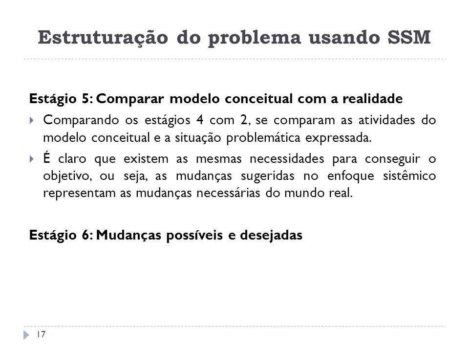 Estágio 5: Comparar modelo conceitual com a realidade Comparando os estágios 4 com 2, se comparam as atividades do modelo conceitual e a situação prob