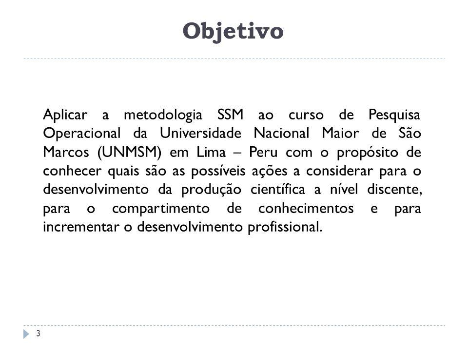 Objetivo Aplicar a metodologia SSM ao curso de Pesquisa Operacional da Universidade Nacional Maior de São Marcos (UNMSM) em Lima – Peru com o propósit