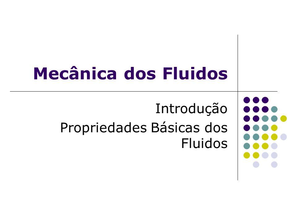 Introdução Mecânica: Ciência que estuda o equilíbrio e o movimento de corpos sólidos, líquidos e gasosos, bem como as causas que provocam este movimento; Em se tratando somente de líquidos e gases, que são denominados fluidos, recai-se no ramo da mecânica conhecido como Mecânica dos Fluidos.