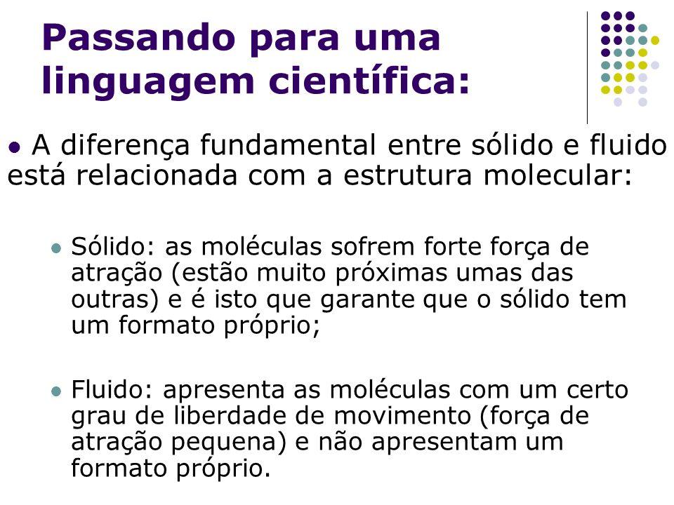 Passando para uma linguagem científica: A diferença fundamental entre sólido e fluido está relacionada com a estrutura molecular: Sólido: as moléculas