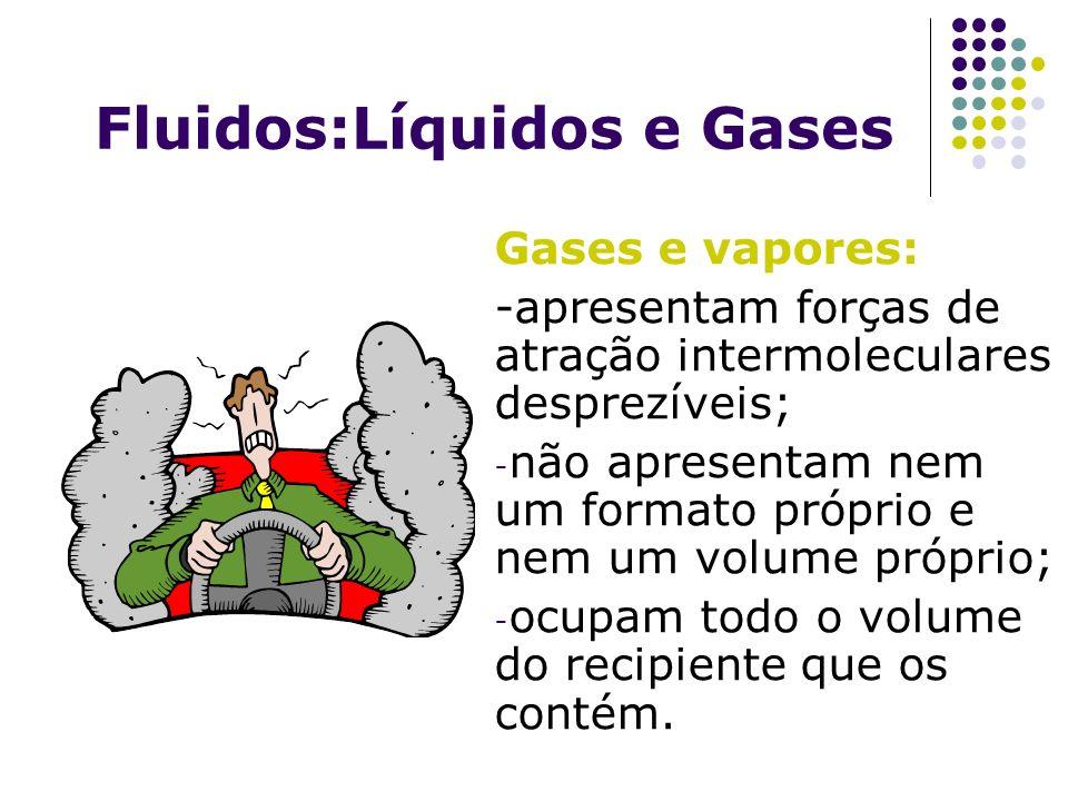 Gases e vapores: -apresentam forças de atração intermoleculares desprezíveis; - não apresentam nem um formato próprio e nem um volume próprio; - ocupa