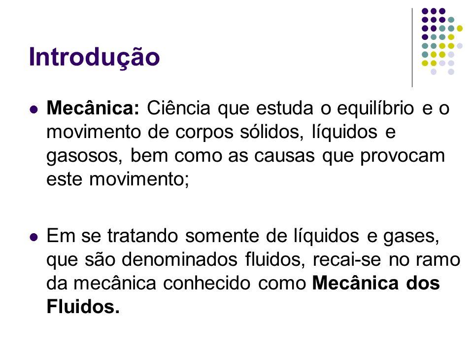 Introdução Mecânica dos Fluidos: Ciência que trata do comportamento dos fluidos em repouso e em movimento.