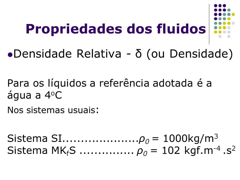 Propriedades dos fluidos Densidade Relativa - δ (ou Densidade) Para os líquidos a referência adotada é a água a 4 o C Nos sistemas usuais : Sistema SI