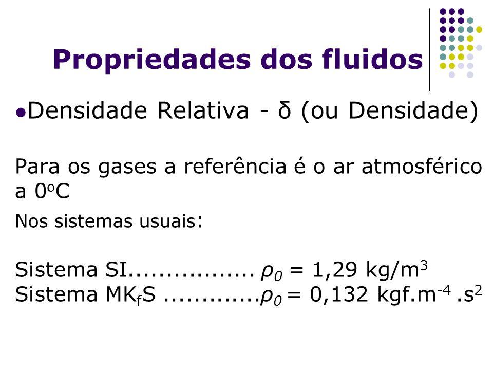 Propriedades dos fluidos Densidade Relativa - δ (ou Densidade) Para os gases a referência é o ar atmosférico a 0 o C Nos sistemas usuais : Sistema SI.