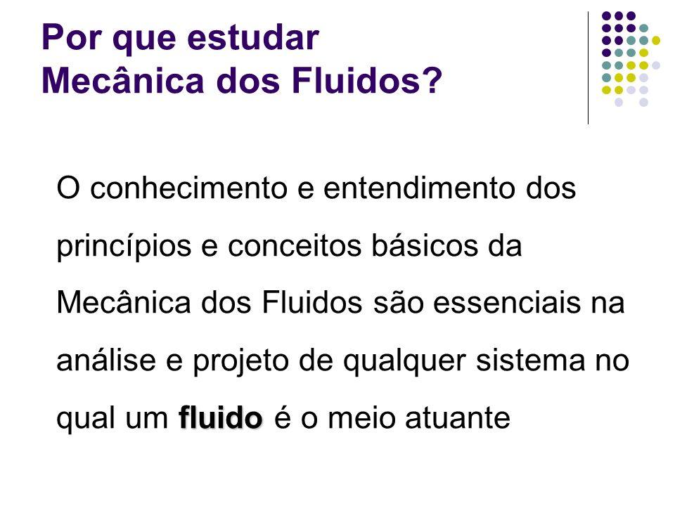 Por que estudar Mecânica dos Fluidos? fluido O conhecimento e entendimento dos princípios e conceitos básicos da Mecânica dos Fluidos são essenciais n
