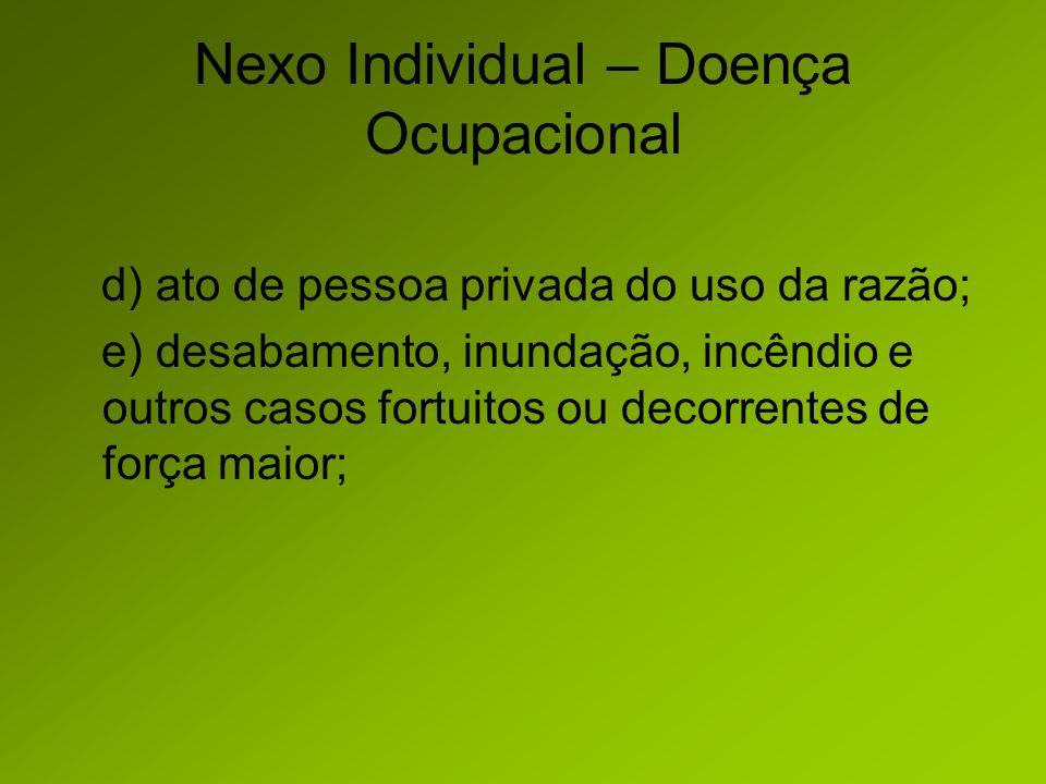 Nexo Individual – Doença Ocupacional d) ato de pessoa privada do uso da razão; e) desabamento, inundação, incêndio e outros casos fortuitos ou decorrentes de força maior;