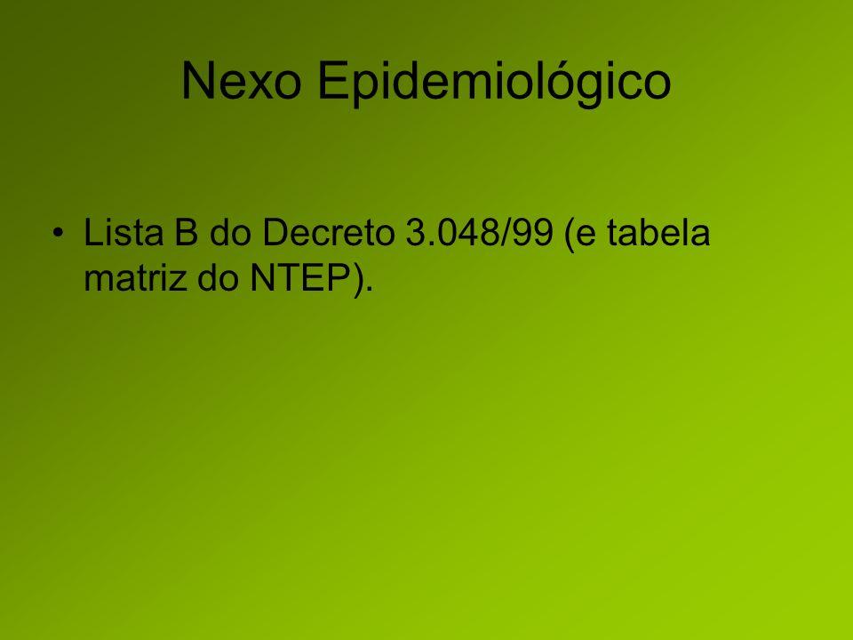 Nexo Epidemiológico Lista B do Decreto 3.048/99 (e tabela matriz do NTEP).