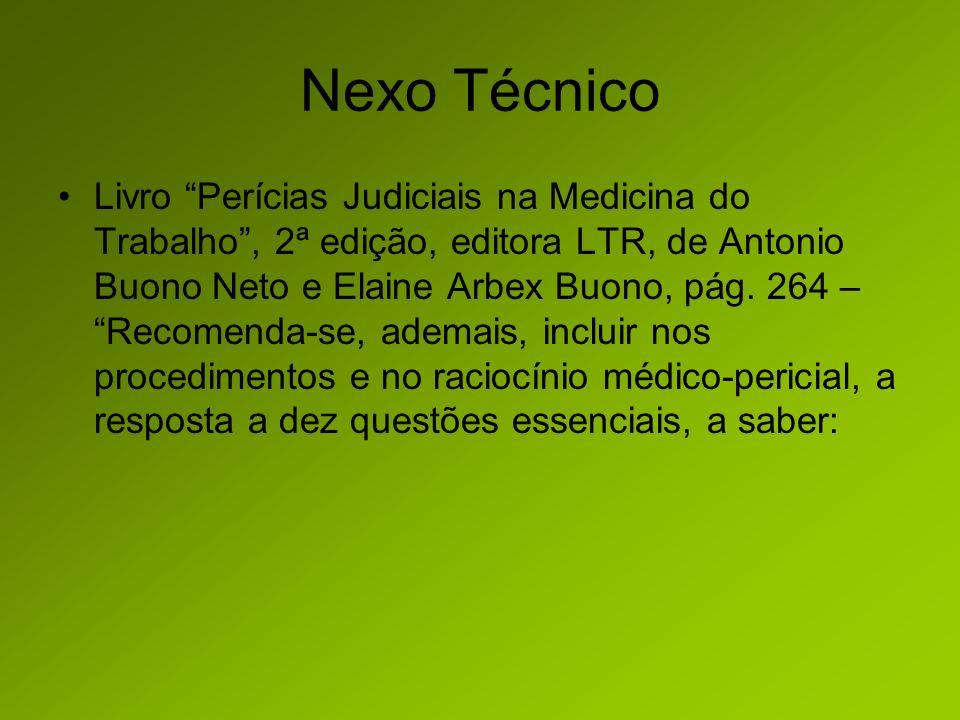 Nexo Técnico Livro Perícias Judiciais na Medicina do Trabalho, 2ª edição, editora LTR, de Antonio Buono Neto e Elaine Arbex Buono, pág.