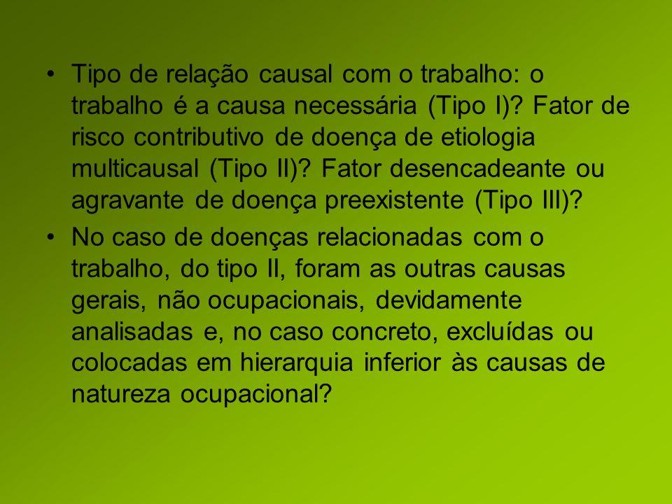 Tipo de relação causal com o trabalho: o trabalho é a causa necessária (Tipo I).