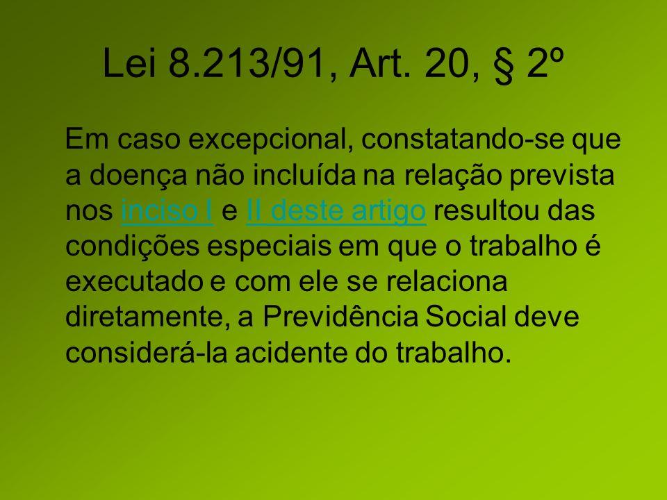 Nexo Profissional/do Trabalho Lista A do anexo II do Decreto 3.048/99. Lei 8.213/91, Art. 20, § 2º.