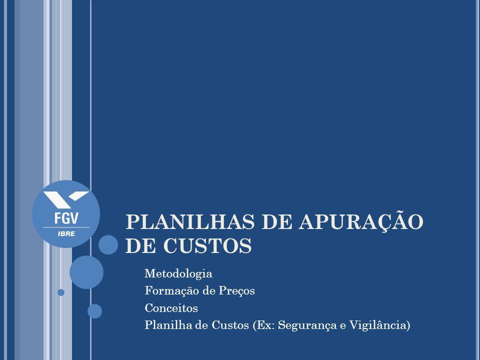 PLANILHAS DE APURAÇÃO DE CUSTOS Metodologia Formação de Preços Conceitos Planilha de Custos (Ex: Segurança e Vigilância)