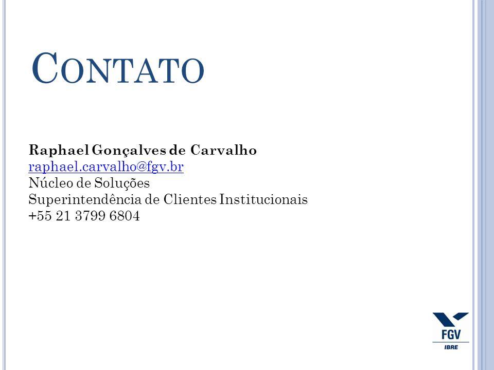 Raphael Gonçalves de Carvalho raphael.carvalho@fgv.br Núcleo de Soluções Superintendência de Clientes Institucionais +55 21 3799 6804 C ONTATO