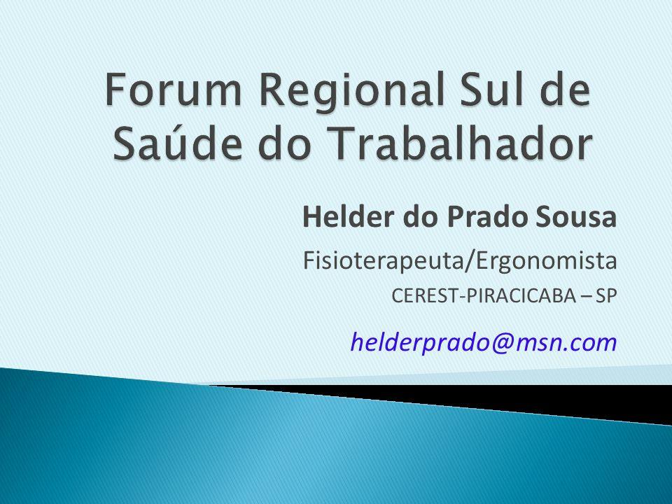 Helder do Prado Sousa Fisioterapeuta/Ergonomista CEREST-PIRACICABA – SP helderprado@msn.com