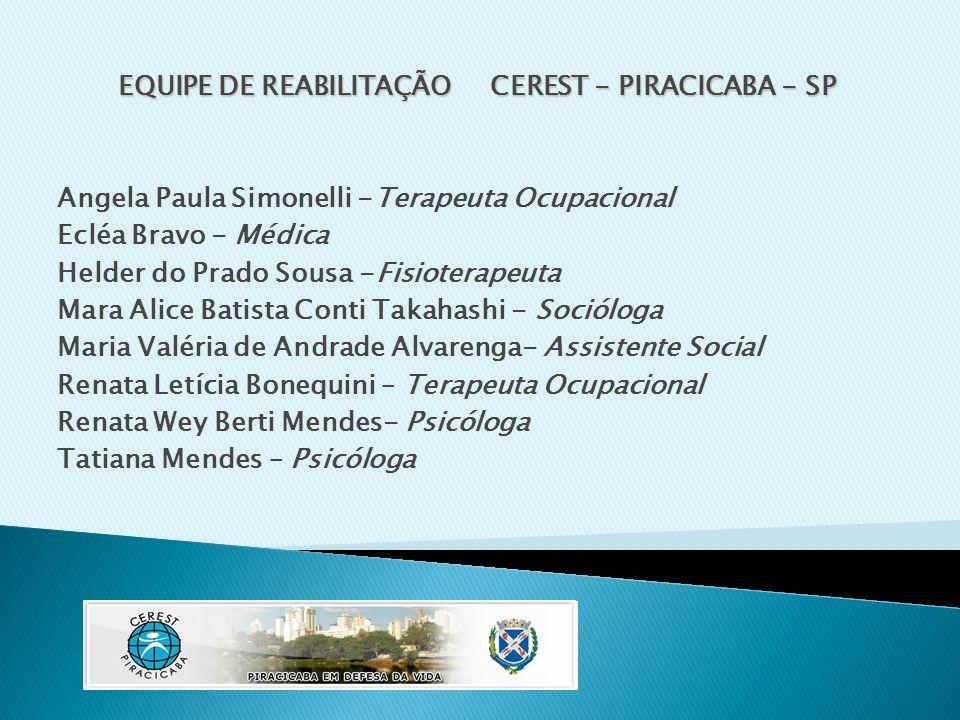 EQUIPE DE REABILITAÇÃO CEREST - PIRACICABA - SP Angela Paula Simonelli -Terapeuta Ocupacional Ecléa Bravo - Médica Helder do Prado Sousa -Fisioterapeu