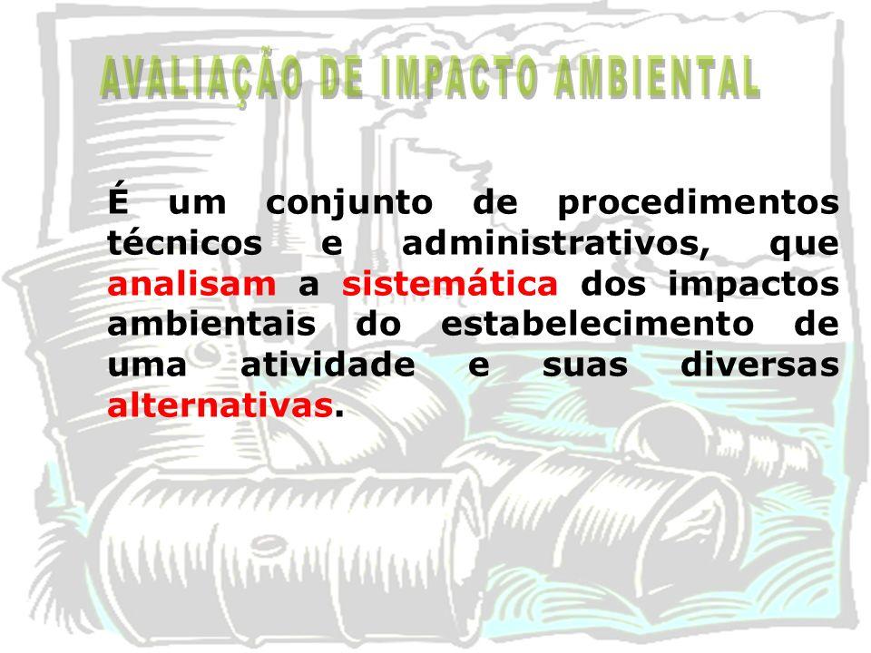 É um conjunto de procedimentos técnicos e administrativos, que analisam a sistemática dos impactos ambientais do estabelecimento de uma atividade e su