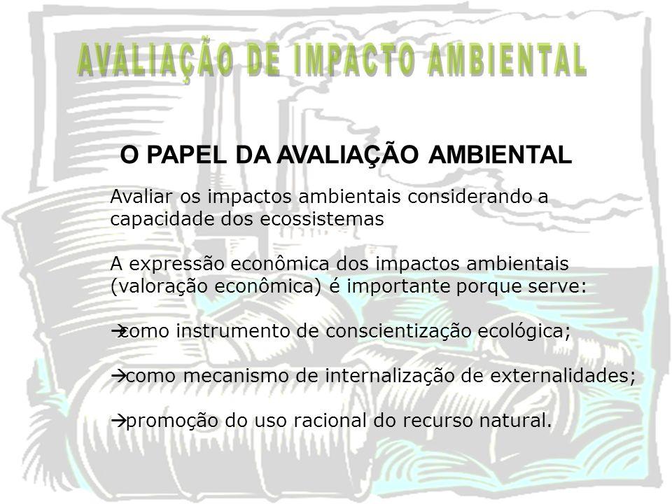 Avaliar os impactos ambientais considerando a capacidade dos ecossistemas A expressão econômica dos impactos ambientais (valoração econômica) é import