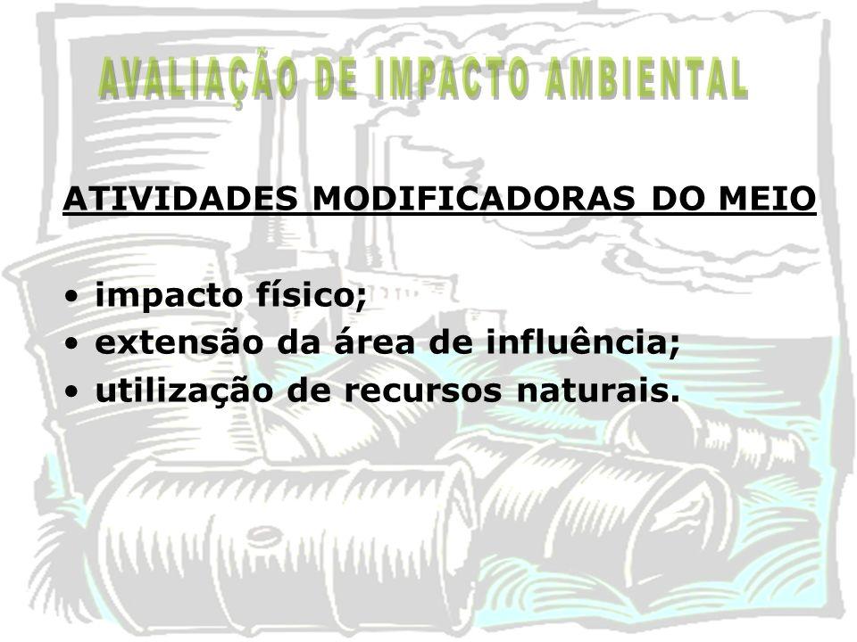 ATIVIDADES MODIFICADORAS DO MEIO impacto físico; extensão da área de influência; utilização de recursos naturais.