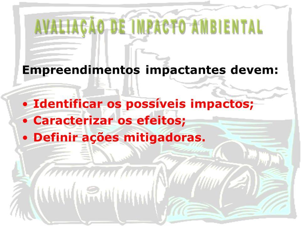 Empreendimentos impactantes devem: Identificar os possíveis impactos; Caracterizar os efeitos; Definir ações mitigadoras.