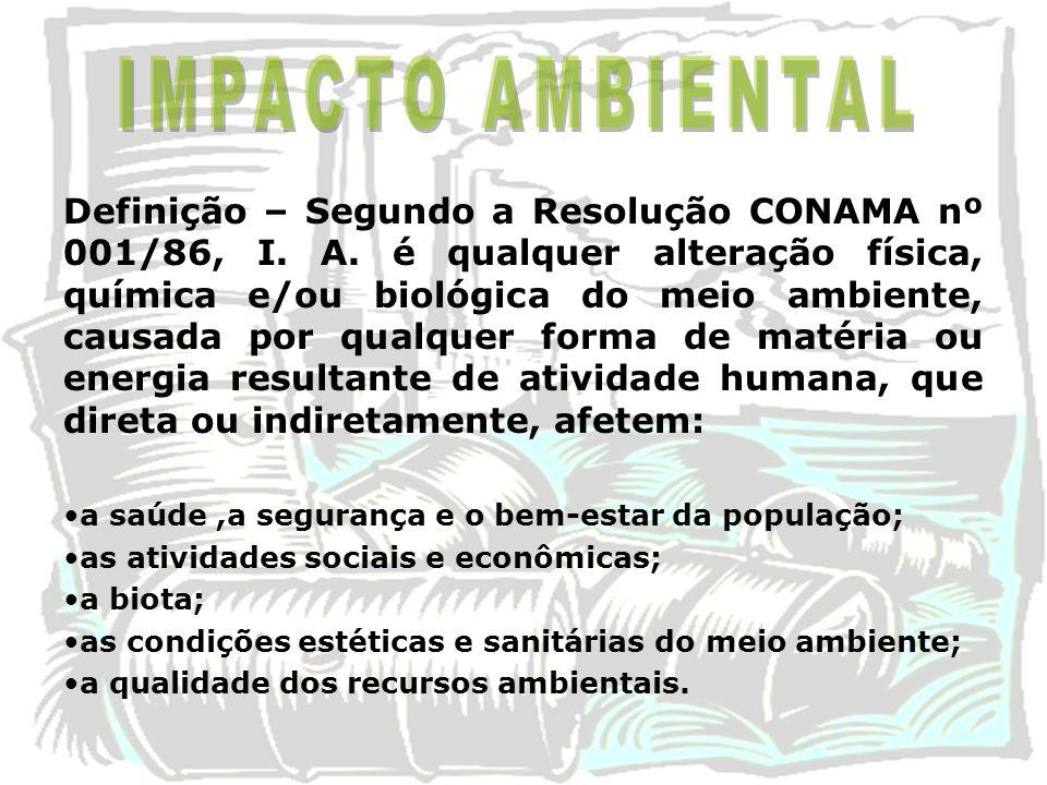 Definição – Segundo a Resolução CONAMA nº 001/86, I. A. é qualquer alteração física, química e/ou biológica do meio ambiente, causada por qualquer for