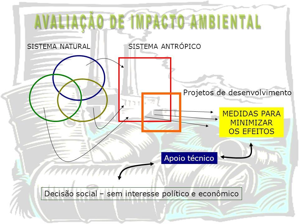 SISTEMA NATURAL Projetos de desenvolvimento Apoio técnico MEDIDAS PARA MINIMIZAR OS EFEITOS SISTEMA ANTRÓPICO Decisão social – sem interesse político