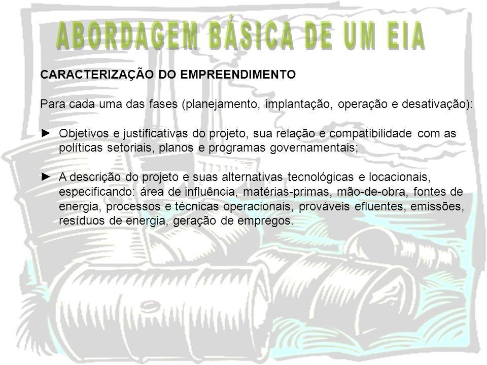 CARACTERIZAÇÃO DO EMPREENDIMENTO Para cada uma das fases (planejamento, implantação, operação e desativação): Objetivos e justificativas do projeto, s