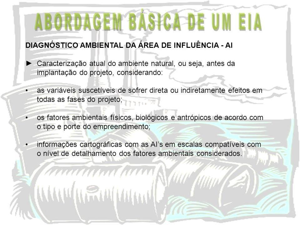 DIAGNÓSTICO AMBIENTAL DA ÁREA DE INFLUÊNCIA - AI Caracterização atual do ambiente natural, ou seja, antes da implantação do projeto, considerando: as