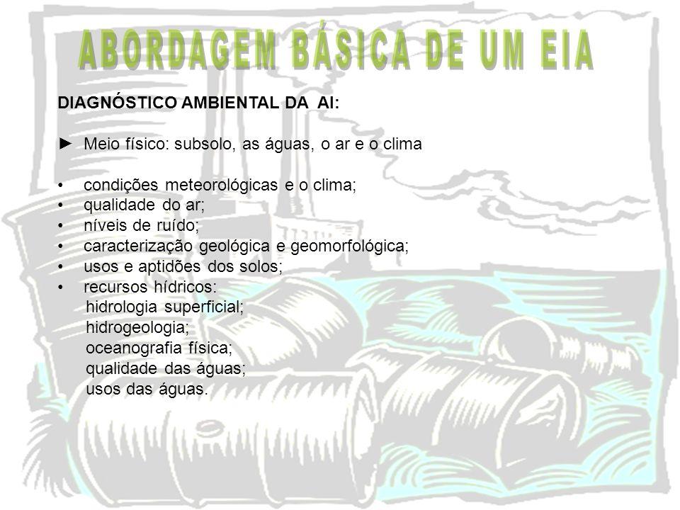 DIAGNÓSTICO AMBIENTAL DA AI: Meio físico: subsolo, as águas, o ar e o clima condições meteorológicas e o clima; qualidade do ar; níveis de ruído; cara