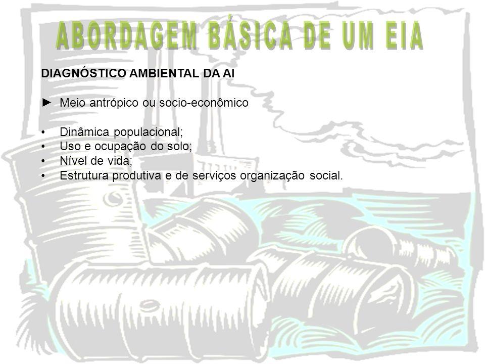 DIAGNÓSTICO AMBIENTAL DA AI Meio antrópico ou socio-econômico Dinâmica populacional; Uso e ocupação do solo; Nível de vida; Estrutura produtiva e de s