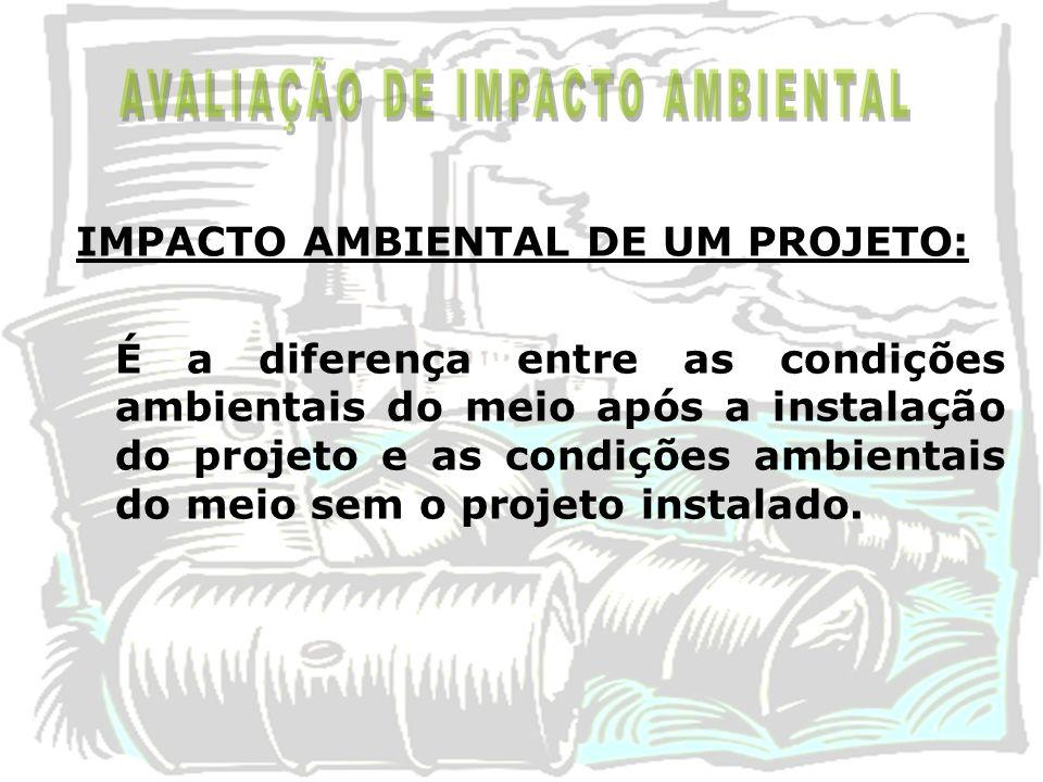 IMPACTO AMBIENTAL DE UM PROJETO: É a diferença entre as condições ambientais do meio após a instalação do projeto e as condições ambientais do meio se