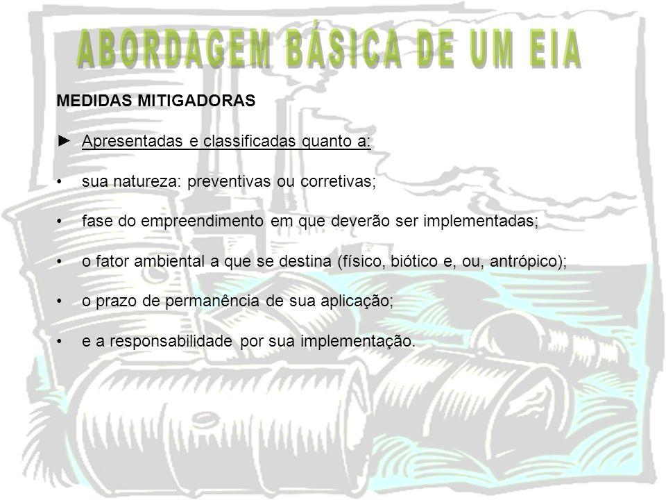 MEDIDAS MITIGADORAS Apresentadas e classificadas quanto a: sua natureza: preventivas ou corretivas; fase do empreendimento em que deverão ser implemen