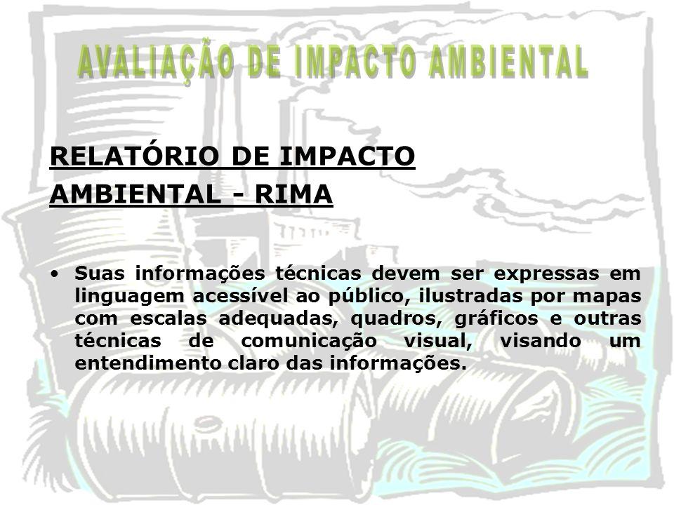 RELATÓRIO DE IMPACTO AMBIENTAL - RIMA Suas informações técnicas devem ser expressas em linguagem acessível ao público, ilustradas por mapas com escala