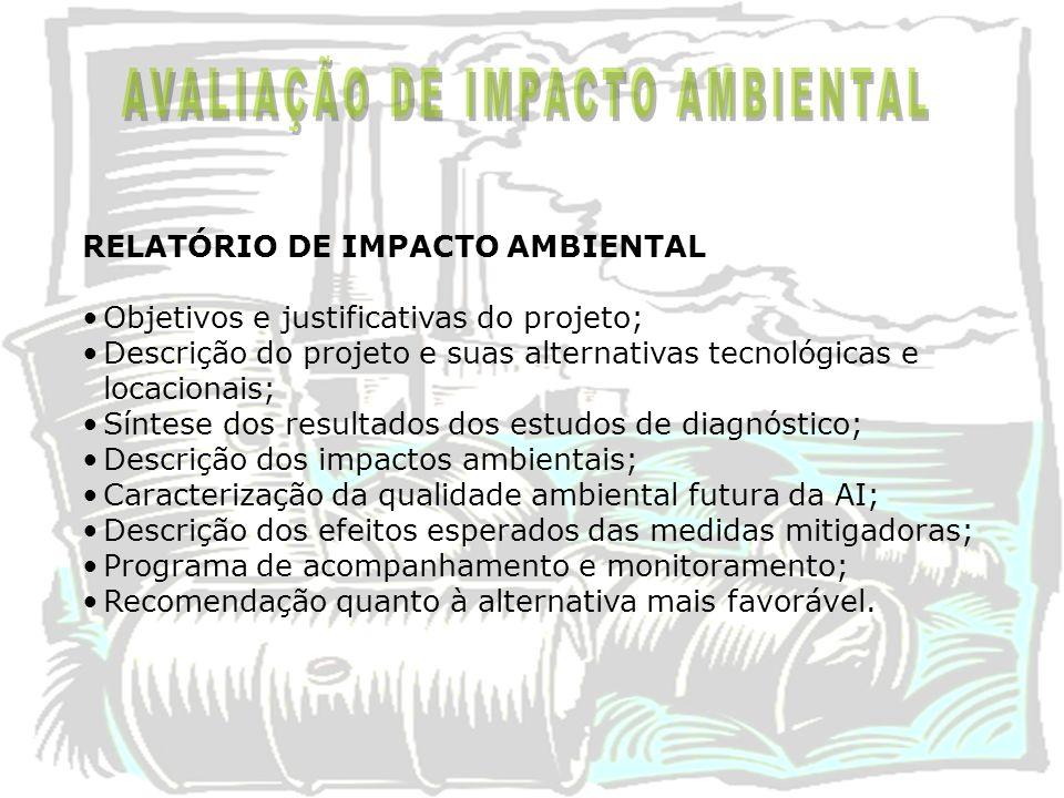 RELATÓRIO DE IMPACTO AMBIENTAL Objetivos e justificativas do projeto; Descrição do projeto e suas alternativas tecnológicas e locacionais; Síntese dos