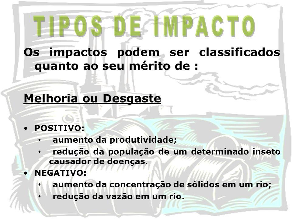 Os impactos podem ser classificados quanto ao seu mérito de : Melhoria ou Desgaste POSITIVO: aumento da produtividade; redução da população de um dete