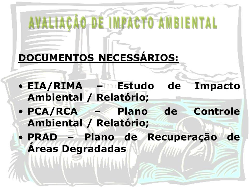 DOCUMENTOS NECESSÁRIOS: EIA/RIMA – Estudo de Impacto Ambiental / Relatório; PCA/RCA – Plano de Controle Ambiental / Relatório; PRAD – Plano de Recuper